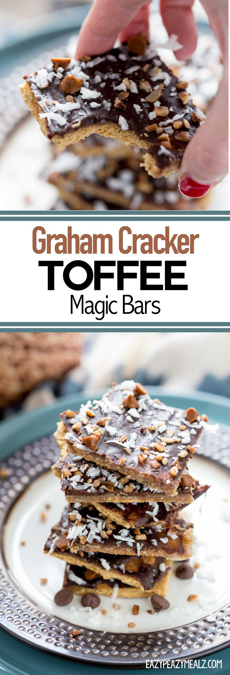 Graham Cracker Toffee Magic Bars are so easy to make and are seriously tasty! Perfect for holiday parties. #ad #CG #ThisisWholesome - Eazy Peazy Mealz