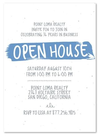 how to write an open house invitation including lunch