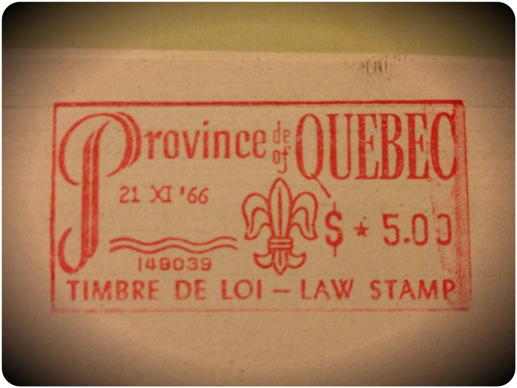 Montreal, province of/de Quebec. Law stamp. 1966 .