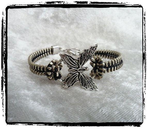 Butterfly Zipper Bracelet by ZipperChic on Etsy   $8
