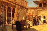 Elephants And Figures In A Courtyard Fort Agra  by Edwin Lord Weeks