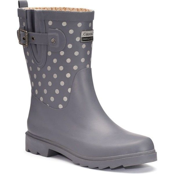 Chooka Flash Dot Women's Reflective Waterproof Rain Boots ($90) ❤ liked on Polyvore featuring shoes, boots, grey, slip on rubber boots, waterproof rain boots, wellington boots, buckle boots and water proof boots
