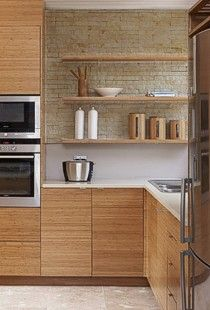 Bamboo Faux Brick Kitchen Natural Neutral