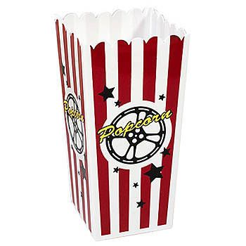 Fill this plastic popcorn container with party favors, beads or popcorn for a Hollywood party. These plastic popcorn boxes make a great favor for movie nights.
