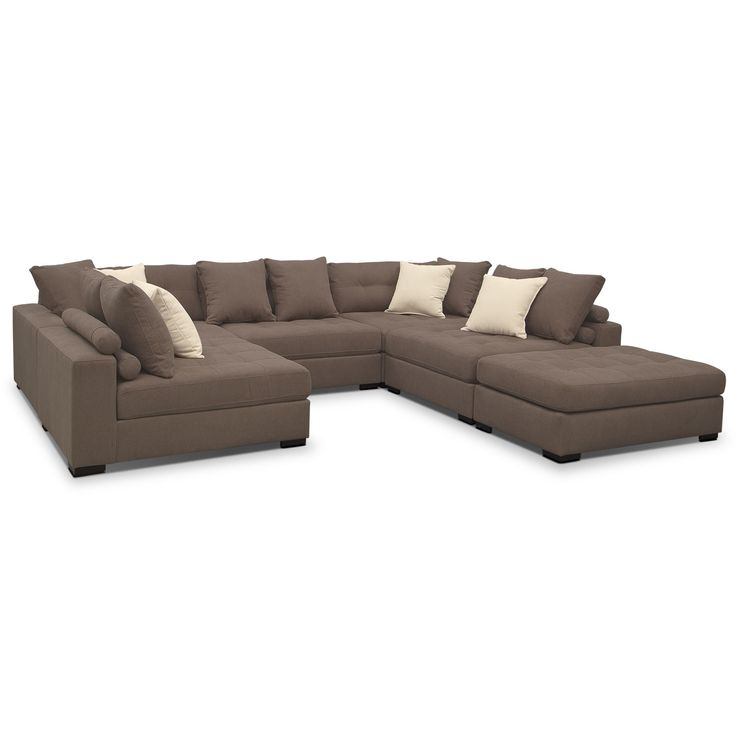 Living Room Furniture   Venti Mocha 6 Pc. Sectional [Deep Couch Sitting  With This Oversized Sectional] | Furnishing The House | Pinterest | Living  Room ...