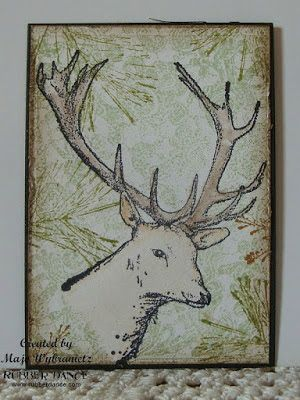 By DT Majo, using the Deer stamp and a pine twig stamp from rubberdance.com