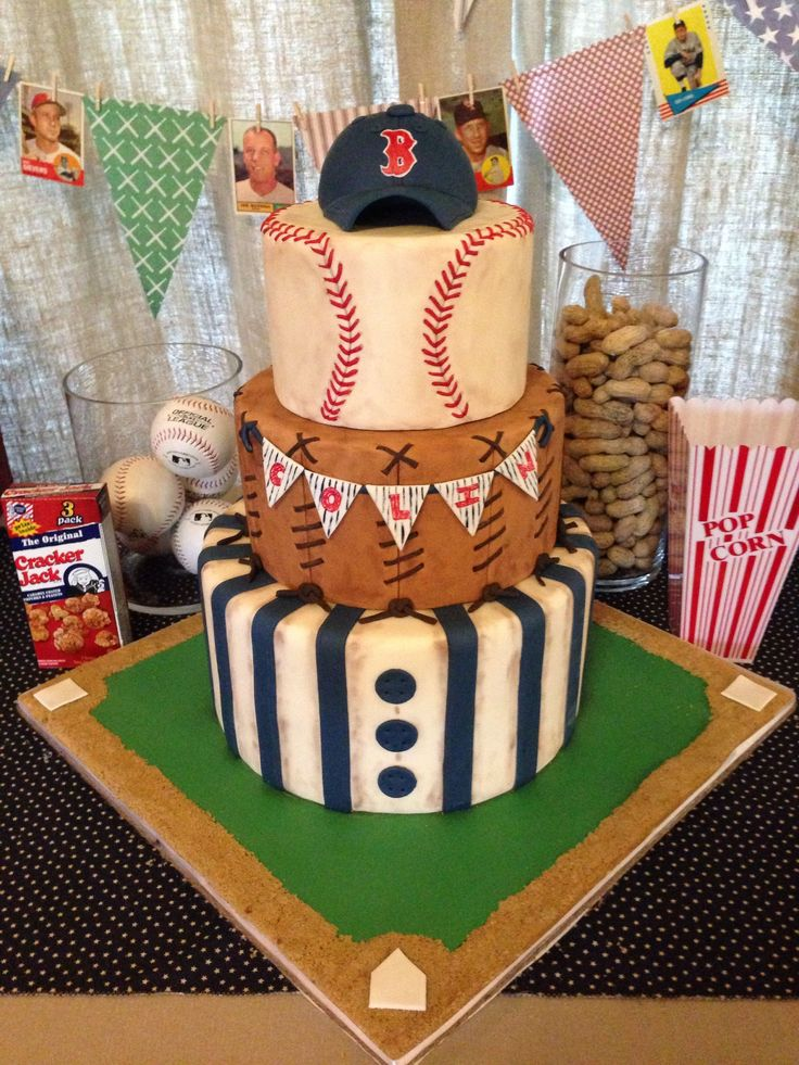 Make the top layer to look like a baseball not round tier probably skip the hat  Baby Shower - Vintage baseball themed baby shower cake.