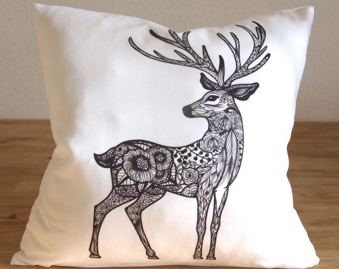 Deer Pillow Case - Free Shipping - Floral Reindeer Cushion - Decorative Pillow Cover - Floral Deer Animal - Animal Pillows
