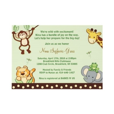 Jungle Babies Animals Baby Shower Invitations