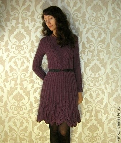 """Вязаное платье """"Переплетения"""" - сиреневый,платье,вязаное платье,женское платье"""