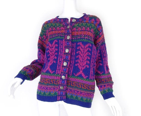 Vintage 90s Icelandic Design Wool Sweater - Sm / Med - Oversized Women's Nordic Cardigan Bright Blue Fuchsia Green Chunky Knit Jumper