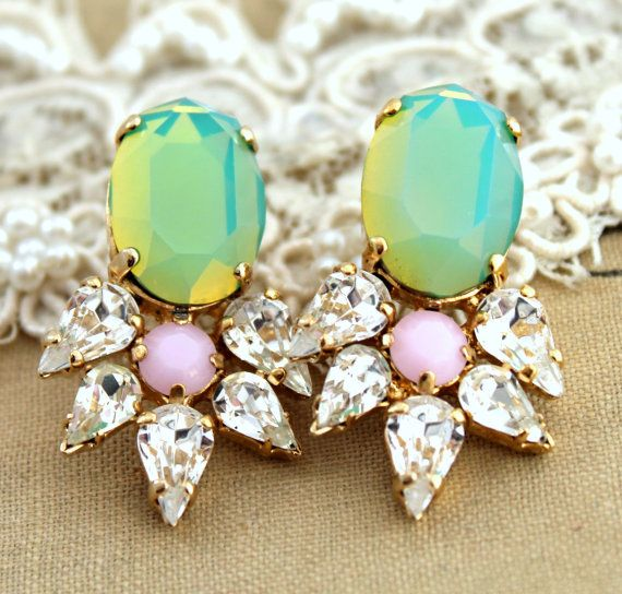 Mint Rhinestone earrings Mint white and pink statement chandelier - 14k Gold plated whit real Swarovski Crystals