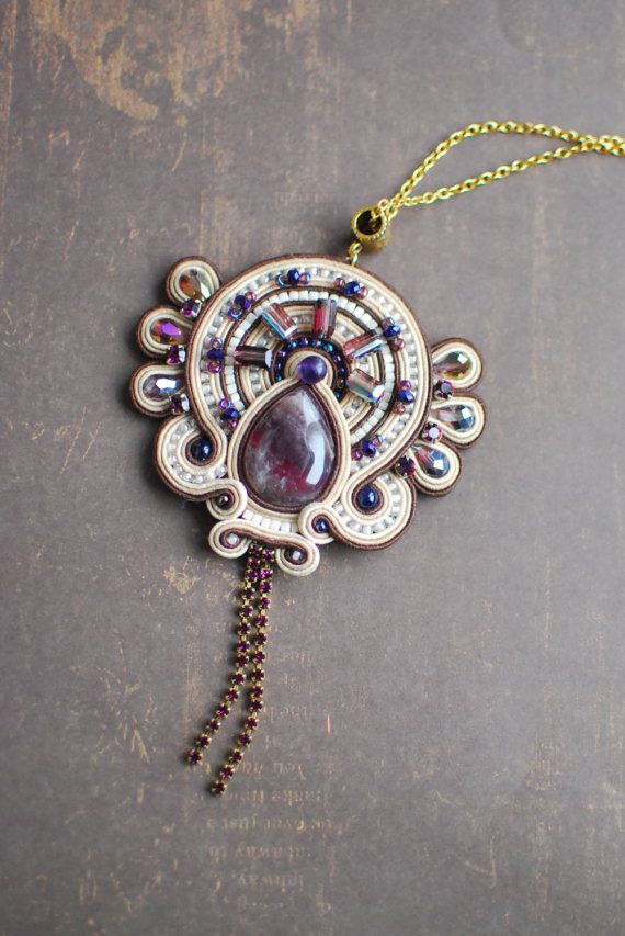 Soutache pendant, Brown,violet and beige pendant with amethyst, Embroidered pendant, Crystal pendant, Beaded pendant, FREE SHIPPING