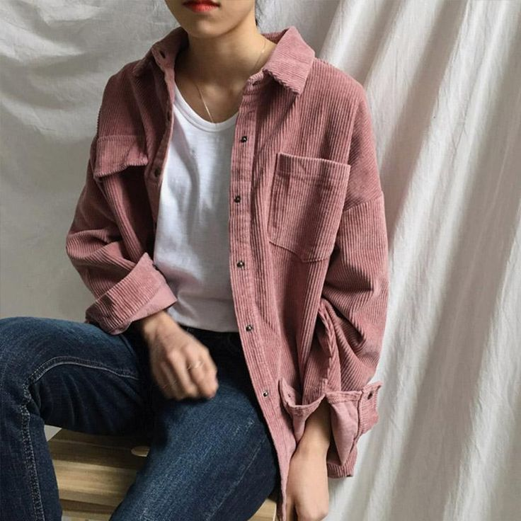 Yanueun Stylish Solid Long Sleeve Blouse Spring Autumn Corduroy Loose Turn down Collar 1