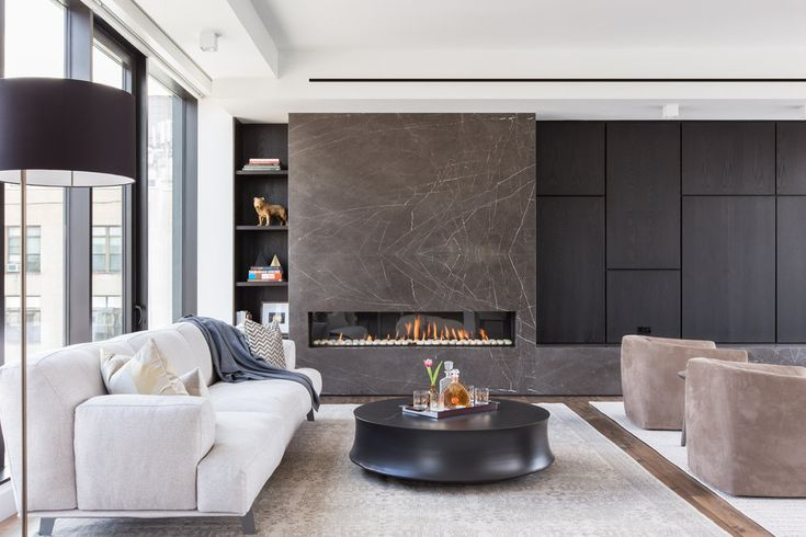 B Interior // Chelsea Penthouse modern fireplace