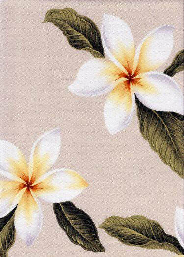 Plumeria Natural Tropical Botanical Vintage Hawaiian Fabric Hawaiian Plumeria Frangipani Flowers on a  cotton Upholstery Fabric.