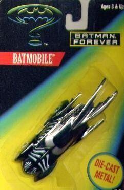 Batman Forever Die Cast Metal Batmobile by 1995 Hasbro, Inc.. $14.00. Hot Colors And Super Fast Wheels. 1:64 scale die cast. Highly detailed. Batman Forever Movie Car Edition. Die Cast Metal Body & Chasis
