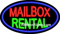 "MailBox Rental Flashing Neon Sign-ANSAR14353  Dimensions: 17""H x 30""L x 3""D  Custom colors ship in 5-7 business days  110 volt flasher transformer  Cool, Quiet, and Energy Efficient  Hardware & chain are included  Comes standard with 6' power cord  Indoor use only  1 Year Warranty/electrical components  1 Year Warranty/standard transformers."