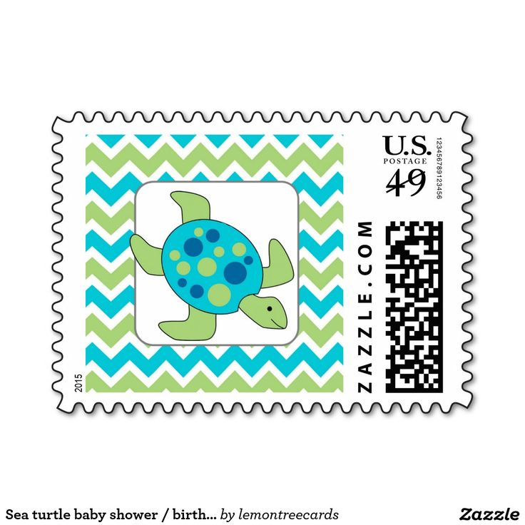Sea turtle baby shower / birthday party postage
