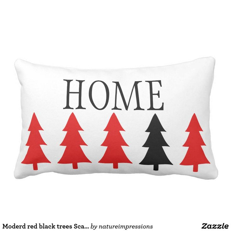 Moderd red black trees Scandinavian style HOME Lumbar Pillow