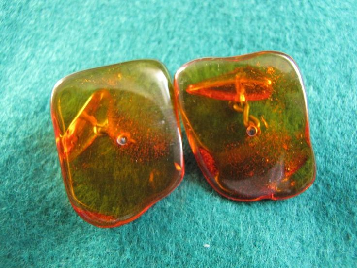 Russia Vintage Natural Baltic Amber Orange Honey Cufflinks 6.7 gr 老琥珀