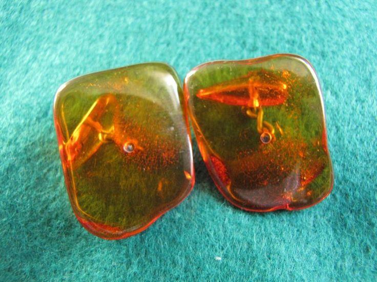 Russia Vintage Natural Baltic Amber Orange Honey Cufflinks 6.7 gr 老琥珀