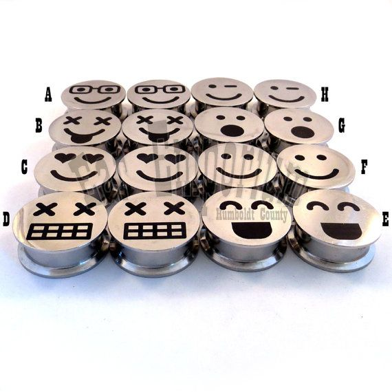 Mood Face Steel Internally Threaded Plugs 2g 6mm 0g by EarEmporium, $24.75