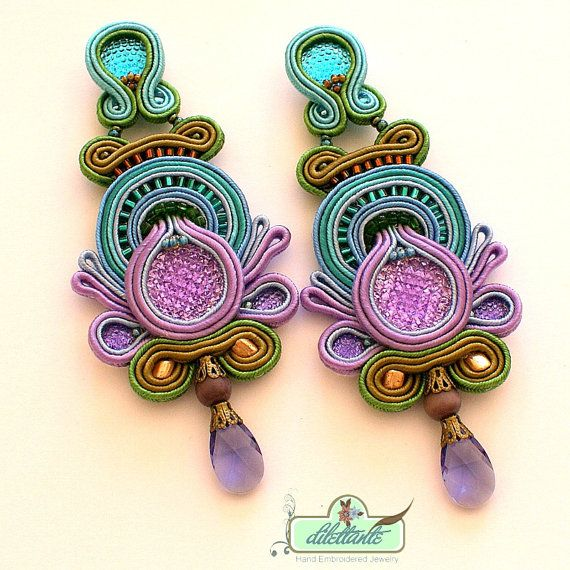 Soutache Earrings Swarovski Crystal by DILETTANTEsoutache on Etsy