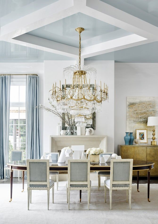Southeastern Showhouse Light Blue Dining Room Dining Contemporary