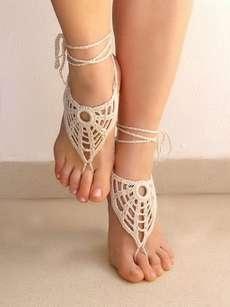 The Lasunka Crochet Ivory Barefoot Sandals are Delicate #crochet #diy trendhunter.com