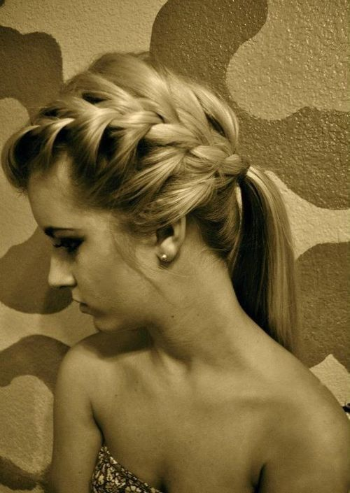 .: French Braids, Big Braids, Hairs Idea, Braids Ponies, Braids Ponytail, Hairs Styles, Long Hairs, Side Braids, Ponies Tail