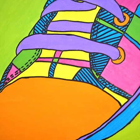 Turn this into an ipad lesson using brushes app--pop art shoes See James Rizzi shoe commercial