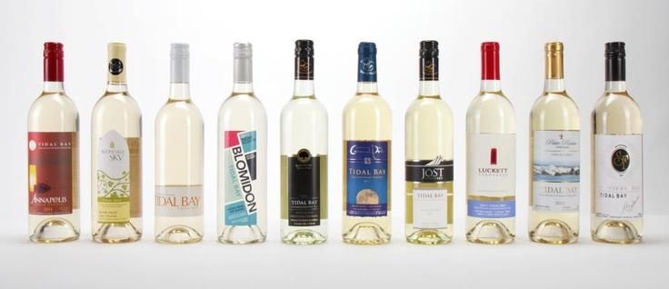 Nova Scotia Wines! (Left - right) Annapolis Highland Vineyard, Avondale Sky, Benjamin Bridge, Blomidon Estate Winery, Jost Vineyards, Domaine de Grand Pre, Jost Vineyards, Luckett Vineyards, Petite Riviere Vineyards and Sainte-Famille Wines.