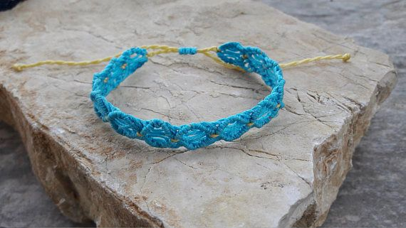 FREE shipping  Turquoise and Yellow Macrame String Adjustable