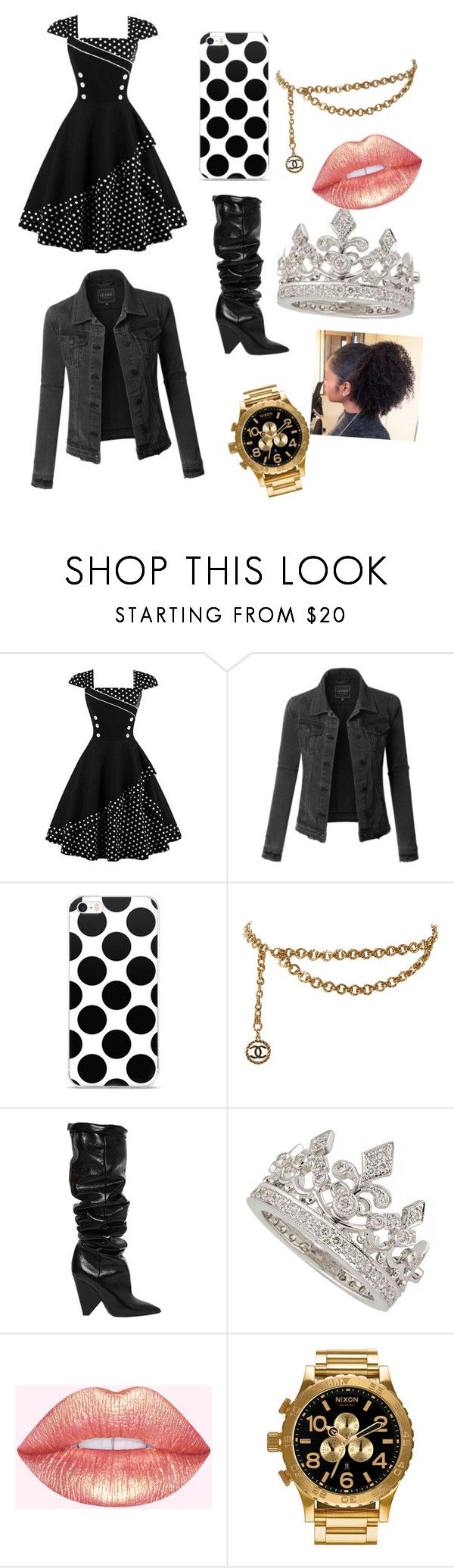 """""""gold and black is a real player"""" by keyasiasobeautiful ❤ liked on Polyvore featuring LE3NO, Chanel, Yves Saint Laurent, Garrard and Nixon"""