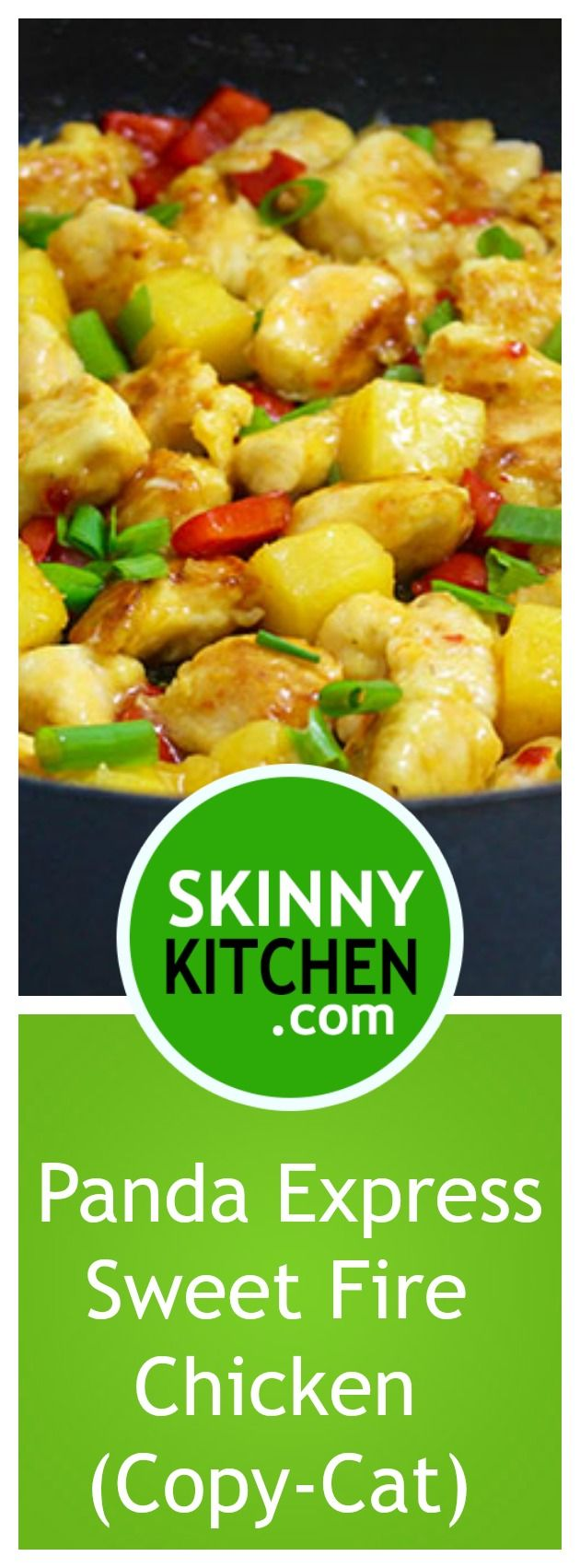 Panda Express Sweet Fire Chicken (Copy-Cat). Iabsolutelylove this chicken dish at Panda Express! Here's an easy homemade version that tastes amazingly good!  Each serving, 268 calories, 7g fat and 9 SmartPoints. A must try!  #pandaexpress #copycat #takeout https://www.skinnykitchen.com/recipes/panda-express-sweet-fire-chicken-copy-cat/