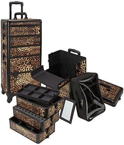 Best Buy, Lockable, Leopard Print Rolling Makeup Case