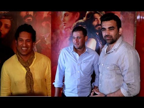 Sachin Tendulkar, Zaheer Khan & Ajit Agarkar at screening of MIRZYA movie.