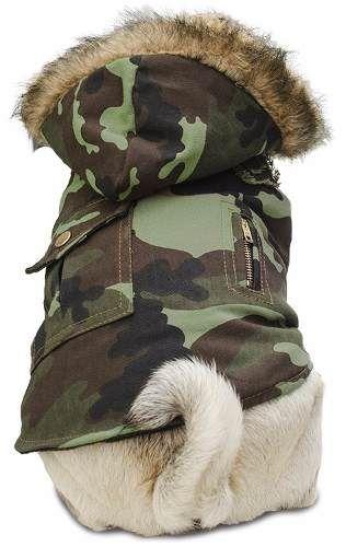 chaleco camuflado - capucha con piel - ropa para perros