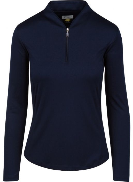 Check out our Navy ESSENTIALS Greg Norman Ladies & Plus Size Zip L/S Tulip Neck Golf Shirt! Find stylish golf apparel at #lorisgolfshoppe Click through to own this shirt!