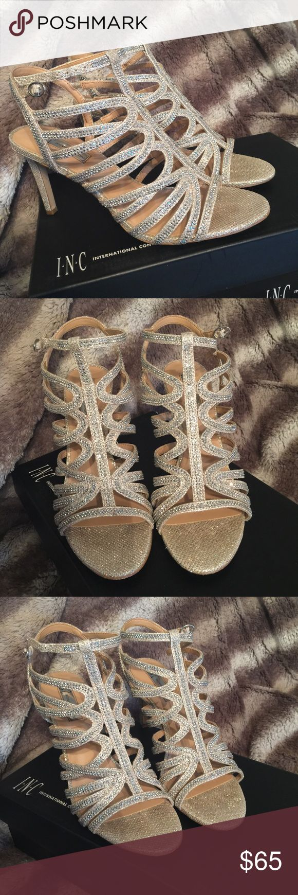 I.N.C silver rhinestone heels Only worn once! Gorgeous pair of heels!, size 9. Originally $100 from Macy's asking $65 INC International Concepts Shoes Heels