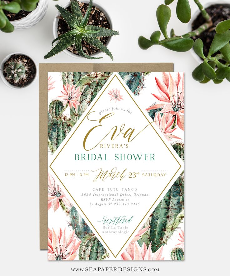 Cactus & Flower Bridal Shower Invitation, Boho Invite. Matching party items available. www.seapaperdesigns.com