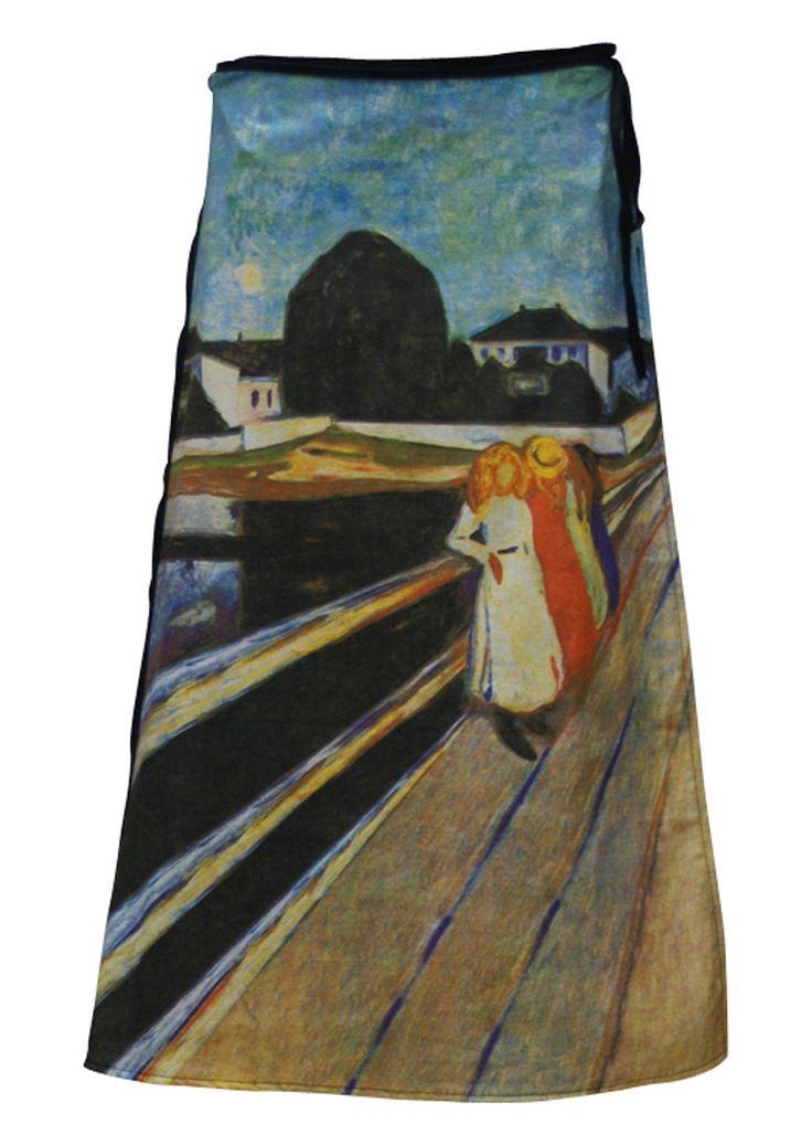 Art Wrap Skirt Edvard Munch, Four Girls on A Bridge