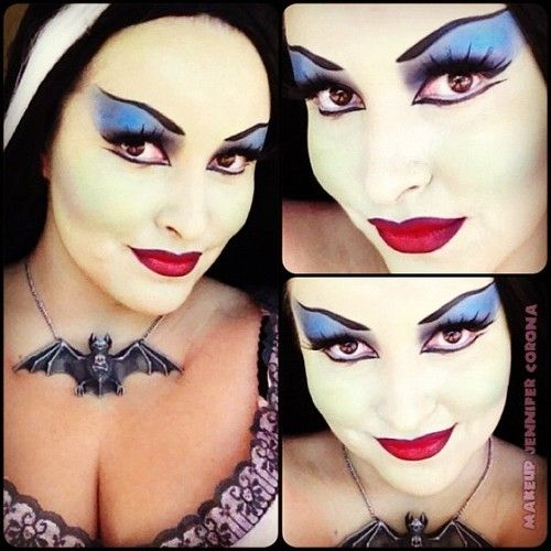 Lily Munster makeup. I wouldn't do the eye shadow so dark. Maybe a light shade of purple or earth tones to bring out my eyes.