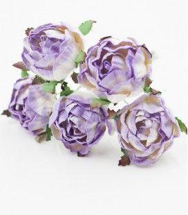 """Renoncules """"Blanc et violet"""" en papier mûrier"""
