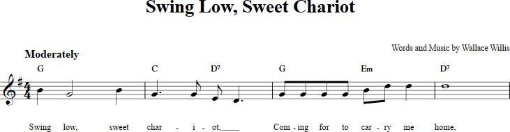Swing Low, Sweet Chariot sheet music with chords and lyrics for B-flat instruments including clarinet, trumpet, and more. View the whole song at http://chordzone.com/music/b-flat/swing-low-sweet-chariot/