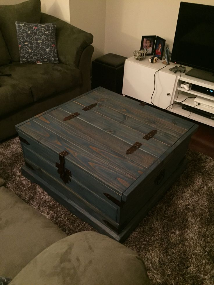 Blue stained pine chest coffee table-DIY furniture rehab