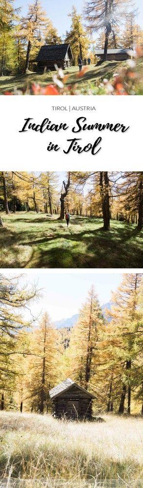 Indian Summer in Tirol: Leichte Wanderung am Anfang vom Stubaital zum Naturschauplatz Eulenwiesen, wo im Herbst die Lärchen sich gelb bis rot verfärben.