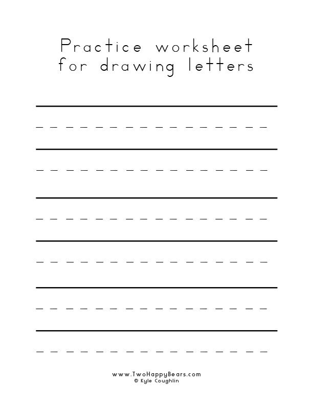 Blank worksheet to practice drawing letters, in free