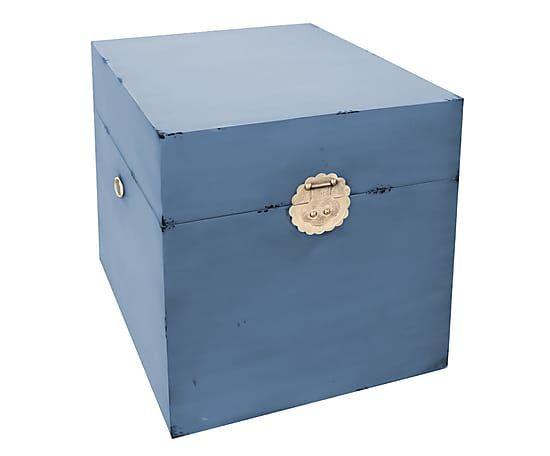 Boîte YUAN bois, bleu et doré - L50